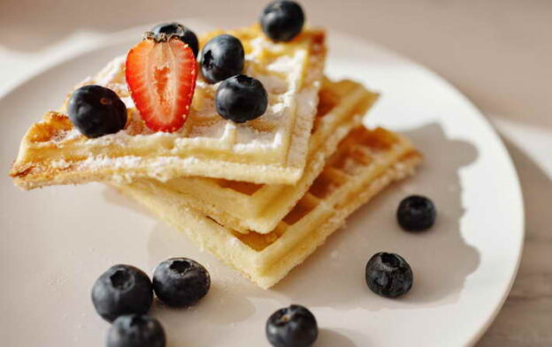 Chocolate Chip Waffles With Blueberries